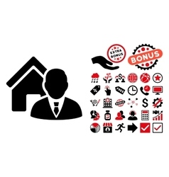 Realtor flat icon with bonus vector