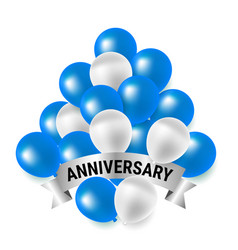 Blue and white party balloons for anniversary vector