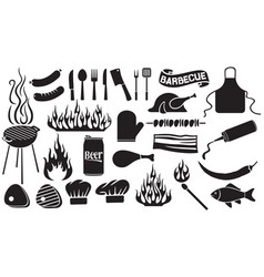 barbecue and food icons set vector image