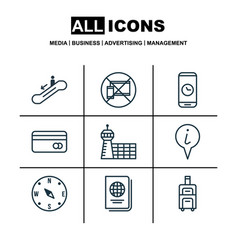 Set of 9 airport icons includes forbidden mobile vector
