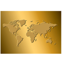 Golden background with map of the world vector