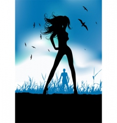 Pretty woman silhouette on nature vector