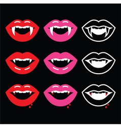 Vampire mouth vampire teeth icons on black vector