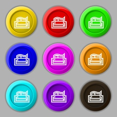 Newspaper icon sign symbol on nine round colourful vector