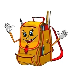 School backpack character with supplies vector