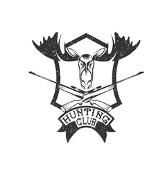 Grunge hunting club crest with carbines and elk vector