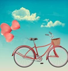 Retro bicycle with red heart shaped balloons vector