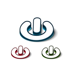 3d glossy power on or off button icon vector