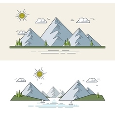 Flat mountain landscape vector