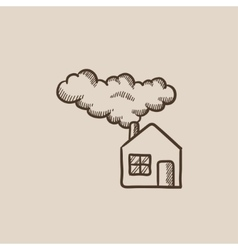 Save energy house sketch icon vector