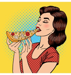 Woman eating pizza young woman pop art vector