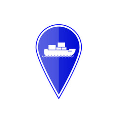 Blue map pointer with cargo ship vector