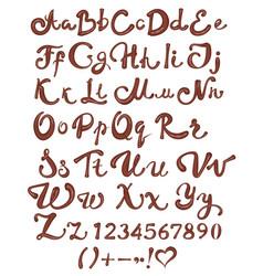 chocolate english alphabet brown handwritten vector image
