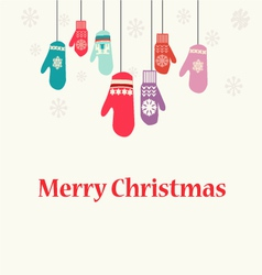 Christmas background with Mittens - vector image vector image