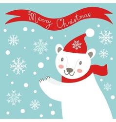 Christmas card with polar bear vector image vector image