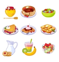 Different breakfast dishes assortment set of vector