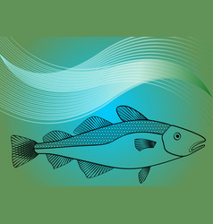 Fish monoline drawing on sea lagoon colored vector