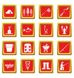 Fishing tools icons set red vector