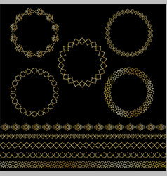 Golden moroccan frames and borders clipart vector