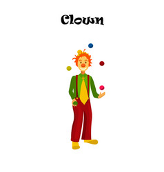 Happy juggling circus clown vector