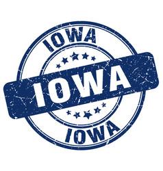 Iowa blue grunge round vintage rubber stamp vector