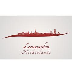 Leeuwarden skyline in red vector image vector image
