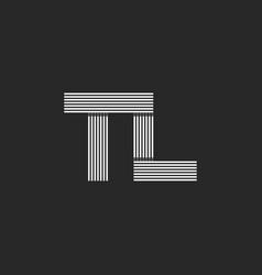 Monogram letters tl logo combination initials t vector