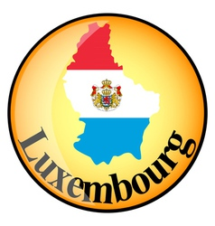 orange button with the image maps of Luxembourg vector image