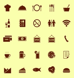 Restaurant color icons on yellow background vector