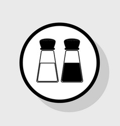 Salt and pepper sign flat black icon in vector
