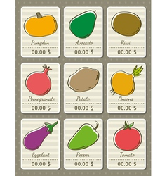 Set of labels with organic vegetables vector