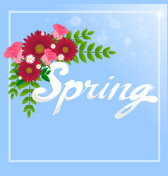 spring word and flowers vector image