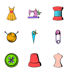 Tailor icons set cartoon style vector