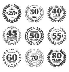 vintage monochrome anniversary labels set vector image vector image