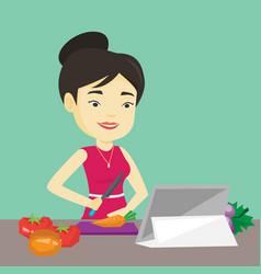 woman cooking healthy vegetable salad vector image vector image