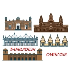 Temples mosques of cambodia and bangladesh icon vector