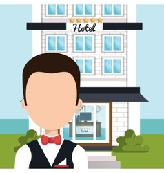 Waiter hotel service isolated vector