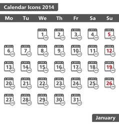 January 2014 calendar icons vector