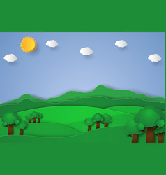 Nature landscape background paper art style vector