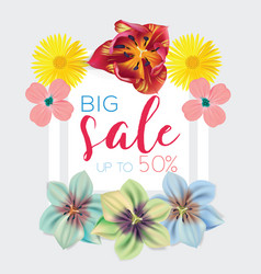 big sale template with flowers background frame vector image