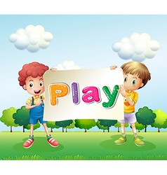 Kids holding a banner vector