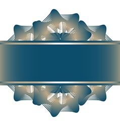 Lace flowers pattern and blue ribbon vector