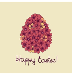 Easter greeting card with flowers of eggs vector