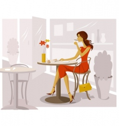 Woman drinking coffee vector