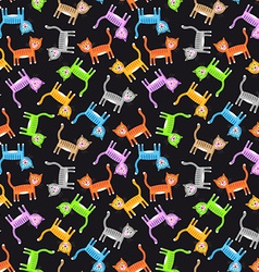 Color cats pattern vector