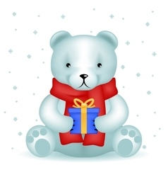 Bear cub sit with new year gift winter background vector
