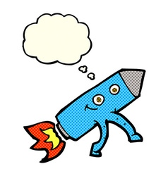 Cartoon happy rocket with thought bubble vector