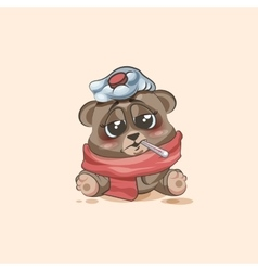 Isolated emoji character cartoon bear sick with vector
