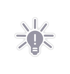 Paper sticker on white background light bulb idea vector