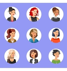 Cute cartoon human avatars set vector